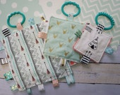 Baby girl toys 3 piece crinkle toy set, woodland theme, arrows, teepees, deer heads,  teething toys that babies love.