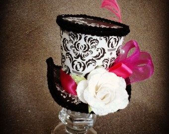 Mini top hat fascinater decorative collectible black white and hot pink