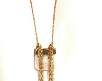 """15"""" Gold toned chain with white stone"""