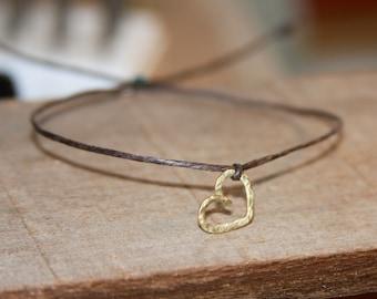 Heart Adjustable Bracelet, Charm Bracelet, Heart Bracelet, Adjustable Organic Brass Bracelet, Gift for Her, Gifts Women