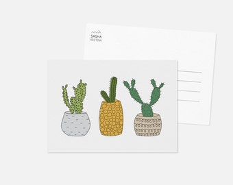 CACTUS I postcard / cacti illustration