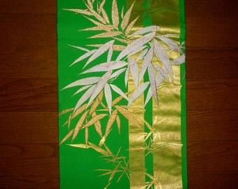 Vintage kimono obi - Bamboo tree, Brocade