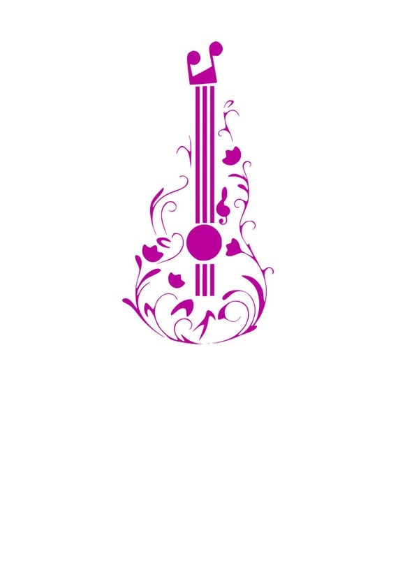 Floral Guitar Svg Cutting File