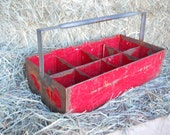 Vintage 1950s Rustic Red Metal Tote French Farmhouse Industrial Tool Garden Caddy Basket Rusty Primitive Box Cottage Mid Century Modern