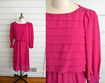 1970s bright pink secretary dress with pleats / Small to Medium vintage fuchsia secretary dress with puff sleeves, pearly buttons, pleating
