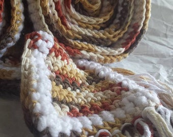 Scarf in Fall Leaf Colors EXTRA LONG with Fringe Brown Tan Gold Terra Cotta 3.5in x 106 in