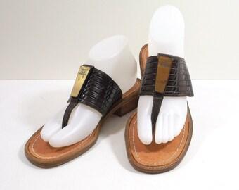 ESCADA Brown Italian Leather Sandals Size 7-1/2B 7.5M
