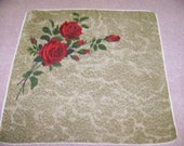 Vintage Red Roses Bouquet Hanky on Olive Green Sponge Background