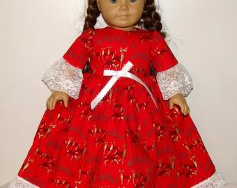 "Handmade Long Red Christmas Dress for the 18"" American Girl Doll - Deers"