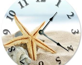 SANDY BEACH with STARFISH Clock Sand Ocean Surf Clock Large 10.5 inch Clock Novelty Clocks Beach House Decor Wall Clocks 96-M15G-6DNS - 2108