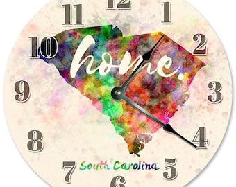 SOUTH CAROLINA Home State Clock Large 10.5 inch Clock Novelty Clocks Wall Clocks Round Clock, Watercolor State Clock, SC 2144