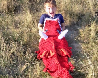 Crochet Dragon Blanket,Red Dragon , lap blanket, snuggle sack, Baby- Adult sizes, birthday gift, Father's Day gift, xmas holiday gift
