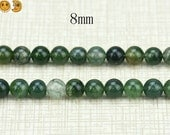 15 inch strand of Moss Agate smooth round beads 8mm