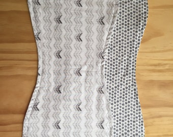 Burp Cloth Set - Gender Neutral Grey & White
