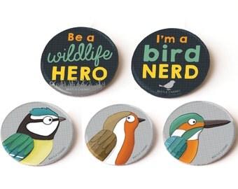 Pin Badges: wildlife set of 5