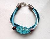 Light Blue Pearl Leather Strap Crimson Plum Ceramic Cubes Blue Wave Opalescent Focal Bead Bracelet - Inspired by Black Sails