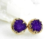 druzy earrings, druzy stud earrings, pink druzy, gold earrings, gold studs, gold stud earrings, drusy agate, gifts for her, amethyst