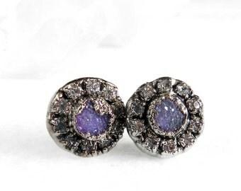 druzy earrings, druzy studs, druzy stud earrings, silver earrings, silver studs, sterling silver, crystal earrings, crystal studs