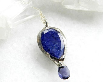 sapphire necklace, iolite necklace, silver necklace, sterling silver, OOAK, blue sapphire, gifts for her, silver pendant, sapphire pendant