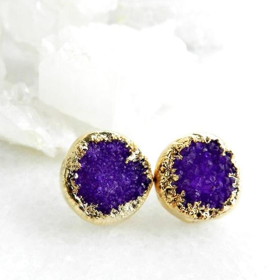 druzy earrings, druzy stud earrings, pink druzy, gold earrings, gold studs, gold stud earrings, drusy agate, gifts for her, amethyst
