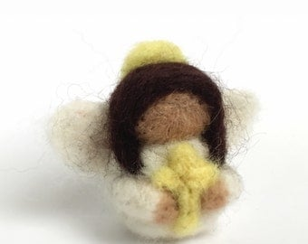 Needle felted angel hand felted merino wool miniature collectable handmade felted art