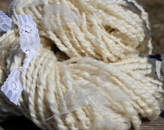 Vintage Wedding Dress - hand spun yarn with lace and ribbon, knitting, weaving