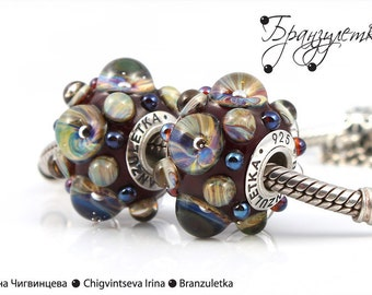 Galaxy bordeaux - 1 pc European Trollbeads big Beads lampwork Murray shining transparent - Charm with a large hole - 925 silver core