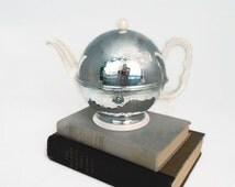 German Thermisol Insulated Teapot Hammered Chrome Cozy Porcelain Tea Pot 1940's Sus Bauscher Lizenz Locking Cover Bavaria