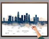 Wedding Guest Book Watercolor Los Angeles Skyline Poster - Add Quote, Date - Wedding Decor - Wedding Reception - Personalized Guest Book