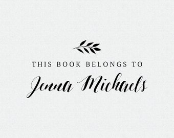 This Book Belongs to, Library Stamp, Book Stamp, Personalized Book Stamps, Personalized Library Stamp, Book Plate Stamp (T384)