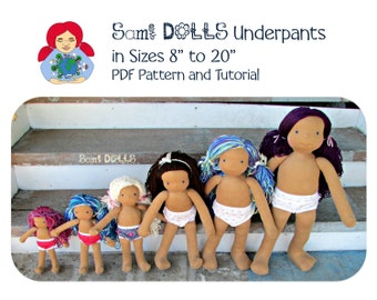 "Doll Underpants in sizes 8"" to 20"" Pattern and Instructions Waldorf Doll Cloth doll"