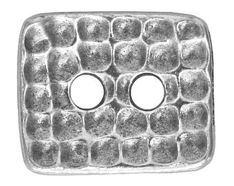 3 TierraCast Hammertone Rectangle 5/8 inch ( 15 mm ) Pewter Two Hole Buttons Antique Silver Color