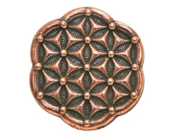 6 TierraCast Flower of Life 5/8 inch ( 16 mm ) Copper Plated Pewter Buttons