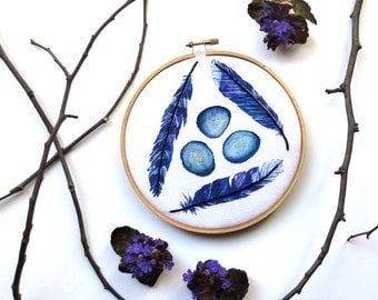 Woodland Wall Art, Baby Boy Nursery, Expecting Mom Gift, Baby Room Art, Blue Jay Feathers Embroidery Hoop Art, Boho Cottage Decor, Bird Eggs
