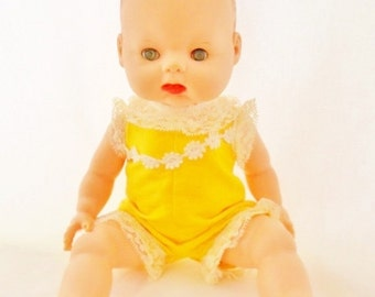 """ON SALE 1961 Horsman Small 12""""  Drink & Wet Baby Doll, All Vinyl, Sleep Eyes, Original Clothes, Bright Yellow Romper, Molded Hair, Toy, Coll"""