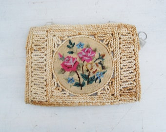 Vintage 1960s Straw Purse Clutch Bag Needle Point Embroidery
