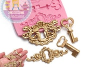 Vintage Art Nouveau Keyholes and keys Silicone Mold 763m Fondant Gumpaste Polymer Clay fimo Cookie topping Chocolate Melts BEST QUALITY