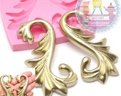 Large Pair of Fancy Flourish Leafy Scrollwork Silicone Mold 450L Cake decoration topping Fondant Chocolate icing Melts treats BEST QUALITY