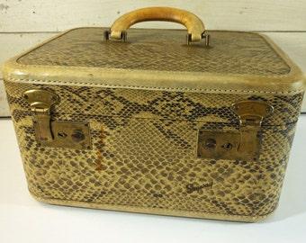 Vintage Faux Snakeskin Skyway Train Case Brown and Tan Vanity Case Luggage