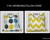 REVERSIBLE PILLOW COVER ~ 2 Kravet fabrics.  Mustard, teal, charcoal decor. Robert Allen & Jonathan Adler Decorative throw pillow cover.