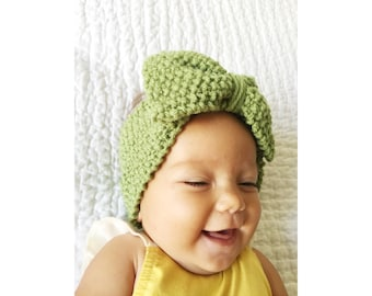 BABY KNIT HEADBAND  in Grass Green Baby Girl with Big Bow Knitted Head Band Earwarmer, Toddler Knit Headband, Baby Girl Bow Headband