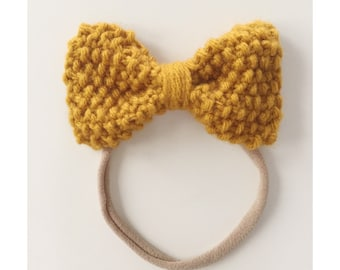 Knit Bow on Elastic band for Babies, Mustard Yellow Knit Bow Headband