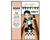 Custom Photo Bowling Birthday Invitation and Thank You  Digital Invitation/Card, Photo Bowling Birthday Invitation