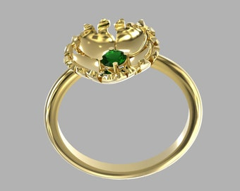 solid gold emerald ring