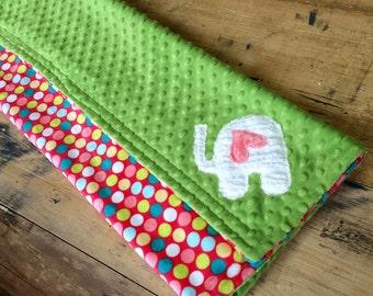 Polka Dots/Elephant Minky Blanket