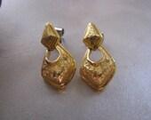 Small Gold Plated Swing Stud Earrings - Vintage Goldtone Post Earrings