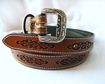 Handmade Leather Stamped Belt