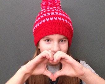 Crochet hat - Crochet Pom Pom Hat - Crochet Hearts & Kisses Pom Pom Valentines Inspired Hat - Pink and Red