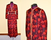 1960s Vintage Red Rose and Gold Empire Waist Cocktail Dress and Matching Duster size S bust 34