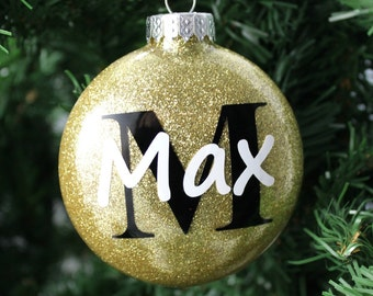 Gold and Black Glitter Personalized Glass Ornament